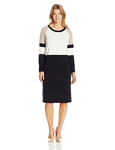 Calvin Klein Women's Plus-Size Color Block Long Sleeve Sweater Dress, Cream/Black/Khaki, 1X