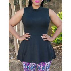 Pure Color Asymmetical Round Neck Sleeveless Plus Size Dress