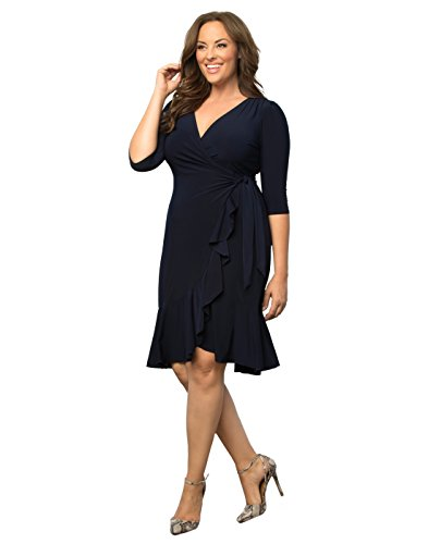 Kiyonna Women's Plus Size Whimsy Wrap Dress 2X Navy Blue