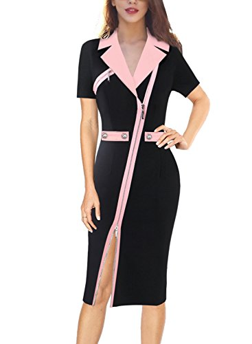 VFSHOW Womens Lapel Asymmetric Zip Buttons Wear to Work Office Sheath Dress 731 PIK S
