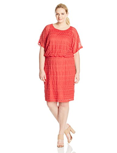 London Times Women's Plus-Size RIC Rac Lace Blouson, Coral, 14