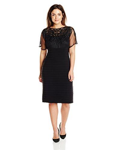 Adrianna Papell Women's Plus-Size Kimono Sleeve Banded Sheath Dress, Black, 14W