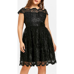 Plus Size Scalloped Tulle Dress
