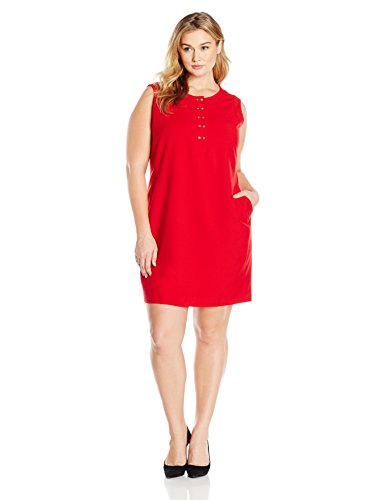 Lark & Ro Women's Plus-Size Sleeveless Snap Front Stretch Dress, Hot Red, 20/Plus