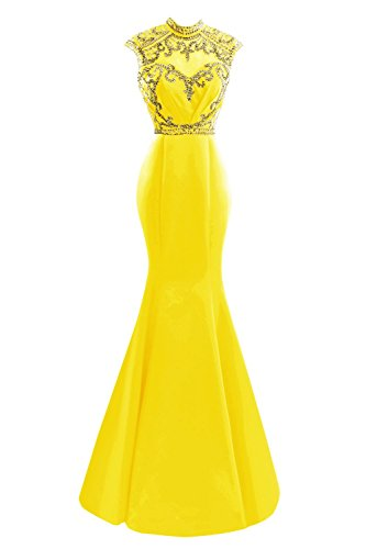 SDRESS Women's Elegant Sequines Cap Sleeve High Neck Long Mermaid Formal Evening Dress Yellow Size 12