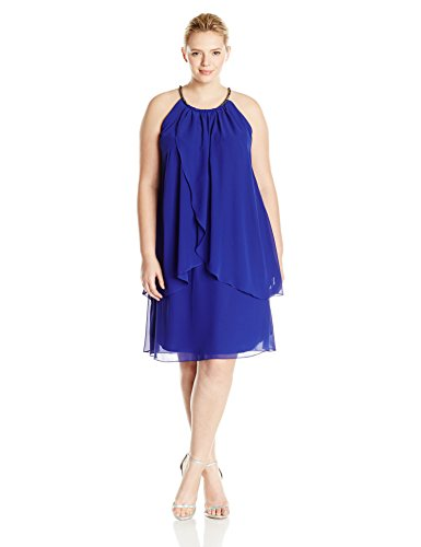 S.L. Fashions Women's Plus-Size Embellished Halter Neck Tier Dress, Iris, 18W
