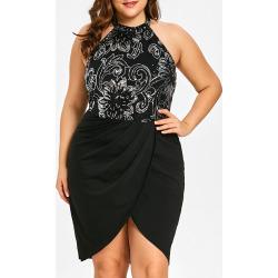 Plus Size Floral Halter Neck Dress