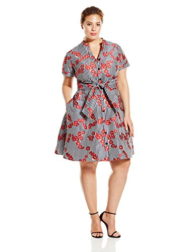 Adrianna Papell Women's Plus-Size Gingham and Floral Flared Embroidered Shirt Dress, Red, 16w