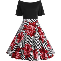 Boat Neck A Line Floral Plus Size Dress