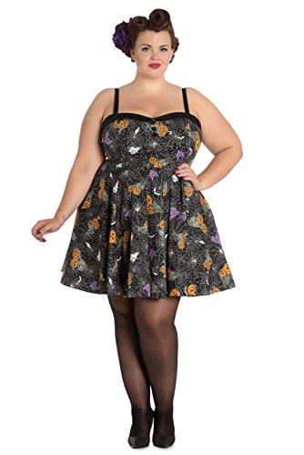 Hell Bunny Plus Size Gothic Black Spiderweb Bats Halloween Harlow Mini Dress (4X)