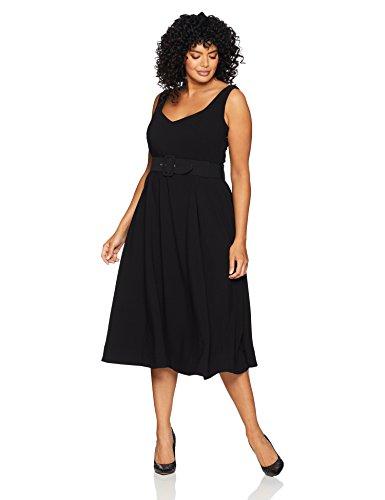 City Chic Women's Apparel Women's Plus Size Dress LBD Tea Length, Black, S