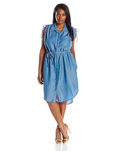 Democracy Women's Plus Size Medium Wash Tencel Short Sleeve Dress with Button Placket Front, Blue, 2X