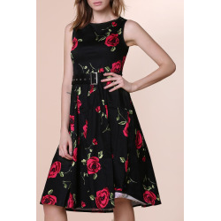 Round Neck Sleeveless Roses Print Ball Gown Dress