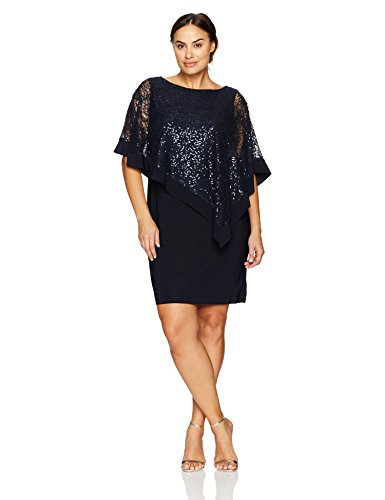 R&M Richards Women's Plus Size Short Laced Poncho Dress Large, Navy, 20W