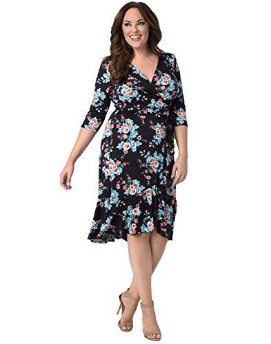 Kiyonna Women's Plus Size Flirty Flounce Wrap Dress 3X Midnight Vintage Floral