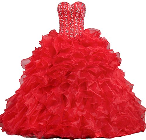 ANTS Women's Sweetheart Formal Quinceanera Dress 2017 Prom Gown Size 2 US Red