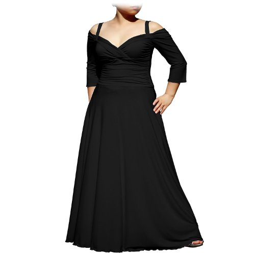 EVANESE Women's Plus Size Elegant Long Formal Evening Dress with 3/4 Sleeves 4X. Black