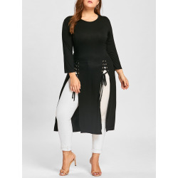 Lace-up Plus Size Long Sleeve Maxi Dress