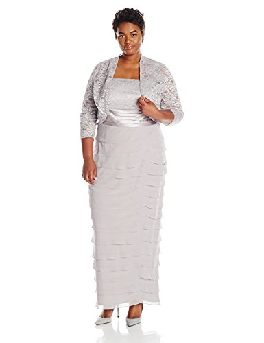 Jessica Howard Women's Plus-Size Lace Jacket Dress with Artichoke Skirt, Gray, 16W