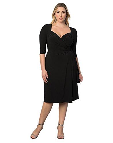 Kiyonna Women's Plus Size Sweetheart Knit Wrap Dress 1x Black Noir