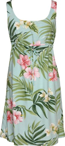 RJC Womens Pale Hibiscus Orchid Empire Tie Front Short Tank Dress Aqua 2X Plus