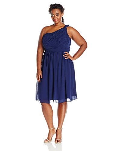 Donna Morgan Women's Plus-Size One Shoulder Rhea Dress, Midnight, 20W