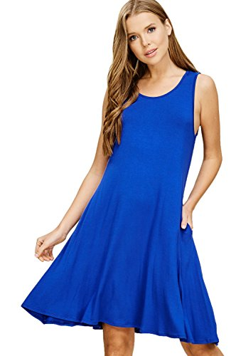 Annabelle Women's Plus Size Solid Patterned Sleeveless Midi Dress with Round Neck and Pockets Royal XXX-Large D5482P