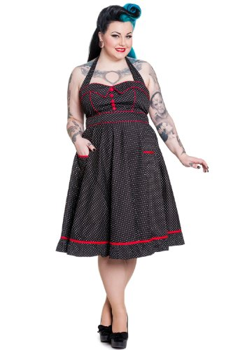 Hell Bunny Plus Rockabilly Love Polka Dot and Red Piping Swing Dress (4XL)