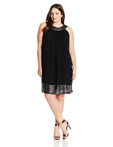 S.L. Fashions Women's Plus-Size Chif Shift Foil Lace Neck and Hem Plus-Size, Black, 2X