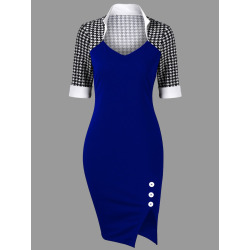 Houndstooth Side Slit Fitted Dress