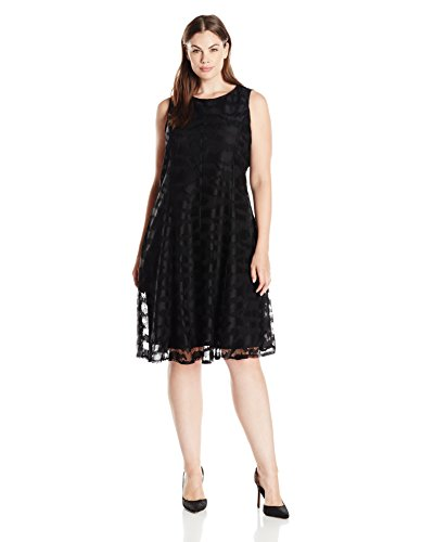 Tiana B Women's Plus Size Sleeveless Zebra Crochet Lace Princess Seam Dress, Black, 20W