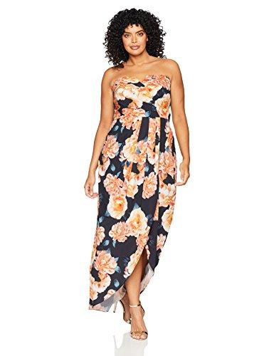 City Chic Women's Apparel Women's Plus Size Maxi Tulip Time, Black, L
