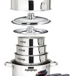 magma products a10 360l 10 piece gourmet nesting stainless steel cookware 150x150 - TigerChef 8 Quart Full Size Stainless Steel Chafer with Folding Frame and Cool-Touch Plastic on top - includes 2 Free Chafing Gels and Slotted Serving Spoon (3, 8 Quart Chafer)