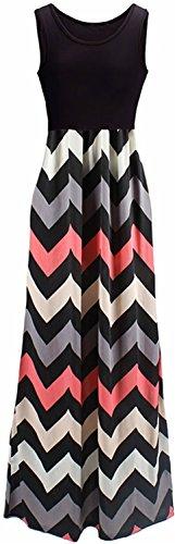 HanDanGe Women's Summer Chevron Striped Print Dress Tank Long Maxi Dresses For Women Black-B-XXL