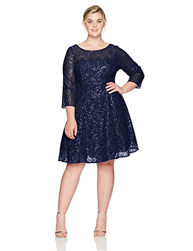 S.L. Fashions Women's Plus Size Lace and Sequin Fit and Flare Dress, Navy, 22W