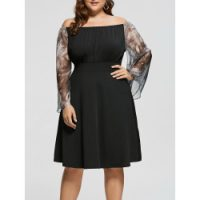 Julian Taylor Women's Plus Size Floral Printed Fit and Flare Dress, Black/Fuchsia/Ivory, 16W