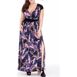 Plus Size Butterfly Printed Plunge Maxi Dress