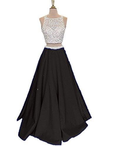 Sexy Homecoming Dresses Plus Size Long 2018 Prom Gowns Empire Waist Beaded Unique Back Two Piece Cocktail Dress for Evening Party Formal Ball Gown VK99 Black 4