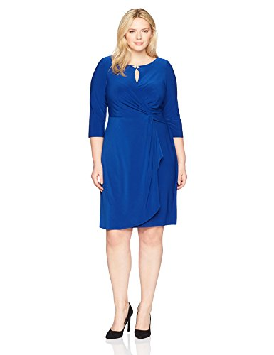 Alex Evenings Women's Plus Size Dress with Keyhole Cutout, Royal, 16W