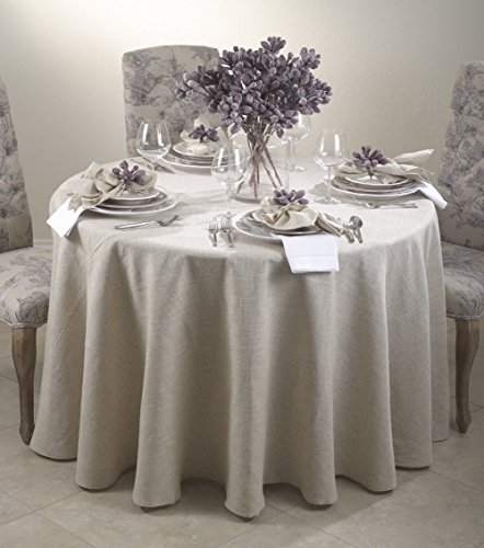 Toscana Classic Natural Tablecloth. One Piece. (132 Inch Round)