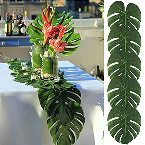Koyal Pack of 6 50Pcs 13.8 by 11.4inch Large Hawaiian Artificial Soft Tropical Palm Leaves can be DIY Palm Leaf Place Mats Table Runner for Party Decoration Jungle Party Supplies