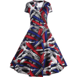 Cap Sleeve Printed A Line Plus Size Dress