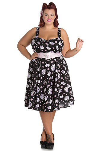 Hell Bunny Plus size Kawaii Cute Cat Kitten & Flower Print Belted Party Dress (XXL)