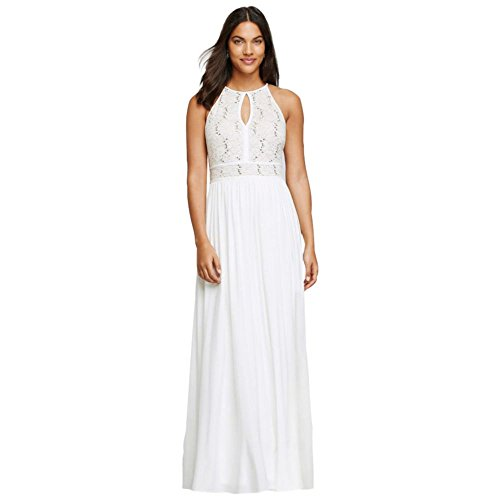 David's Bridal Long Halter Dress with Glitter Lace Bodice Style 12203, Ivory, 2