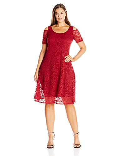 MYNT 1972 Women's Plus Size Lace Cold Shoulder Dress, Tibetan Red, 1X