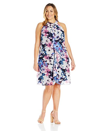 S.L. Fashions Women's Plus Size Navy Floral Printed Halter Dress, Navy Multi, 16W