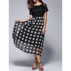 Women's Lace Splicing Plaid Maxi Dress