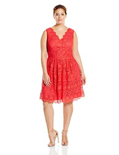 Adrianna Papell Women's Plus-Size V-Neck Sleeveless Fit and Flare Dress, Coral, 16w