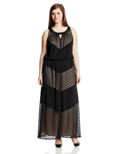 London Times Women's Plus-Size Key Hole Maxi with Shadow Stripe, Black, 18W