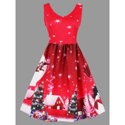 Christmas Tree Moon Snowman Plus Size Dress